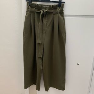 Olive Green High Waisted Wide Leg Pants - Size 6